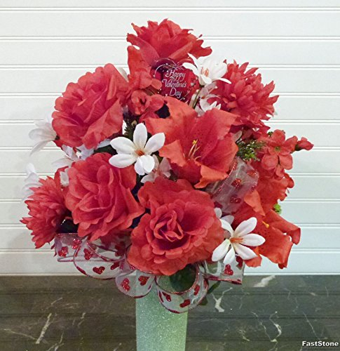 Red Rose and Lily Cemetery Flowers, Valentine's Day - 3 Day Tracking Usps