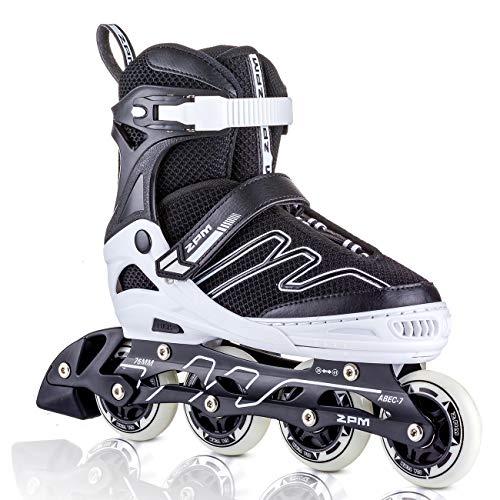 2PM SPORTS Exthrax Kids Adjustable Inline Skates with Light up Wheels, Fun Flashing Illuminating Roller Skates for Boys Girls - Large(4-7 US)