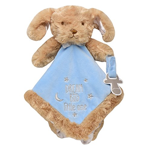Baby Starters Puppy Snuggle Buddy with Paci Holder, Tan/Blue