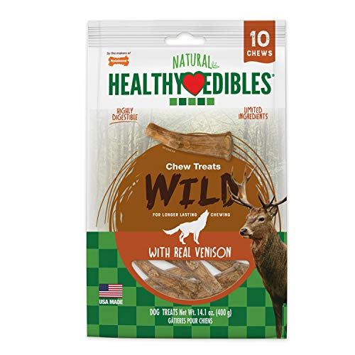 - Nylabone Healthy Edibles Wild Venison Antler Dog Treats | All Natural Grain Free Dog Treats Made In the USA Only | Small and Large Dog Chew Treats | 10 Count