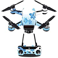 Skin for DJI Spark Mini Drone Combo - Blue Flowers| MightySkins Protective, Durable, and Unique Vinyl Decal wrap cover | Easy To Apply, Remove, and Change Styles | Made in the USA