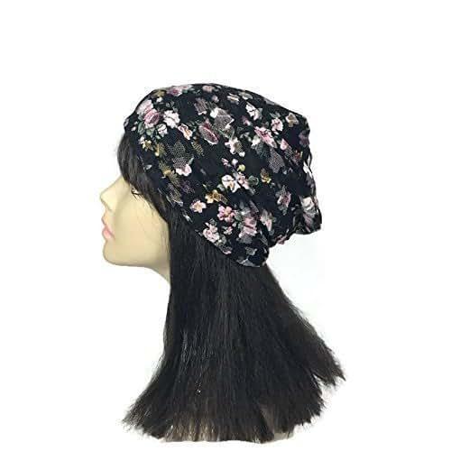 187e8e50e7a69 Amazon.com  Handmade Floral Lace Hat Black Lace Slouchy Beanie ...