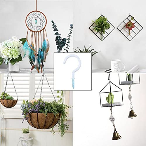 12pcs Cup Hooks Wind Chimes and Plants 2.8IN Vinyl Coated Screw-in Ceiling Hooks for Hanging Mugs Lelines Plant Hook