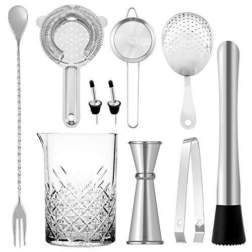 Homestia Cocktail Mixing Glass Set of 10 Piece: 24oz Seamless Lead Free Crystal Mixer, Bar Spoon, Double Jigger, Strainer Set, Ice Tong, Muddler, 2 Bottle Pourer