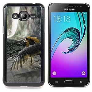 "Qstar Arte & diseño plástico duro Fundas Cover Cubre Hard Case Cover para Samsung Galaxy J3(2016) J320F J320P J320M J320Y (Caballo Salvaje Amarillo Gris Unicornio Mágico"")"