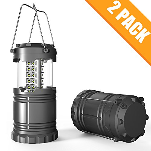 LED Portable Camping Lantern lamps with Batteries Powered , Super-Bright lights for Emergencies, Hurricane, Outage (Grey, Collapsible)