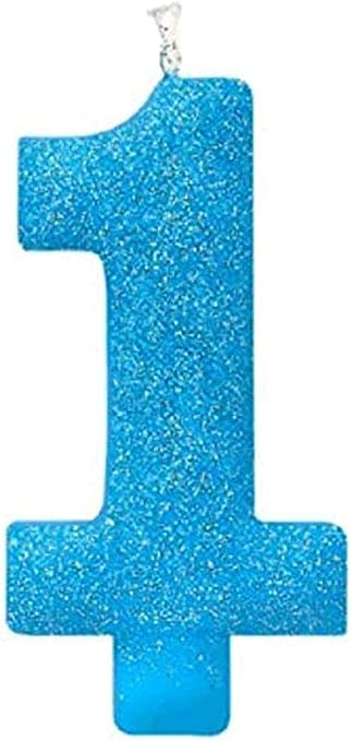 Blue Number Age 20//20th Birthday Glitter Numeral Moulded Pick Candles
