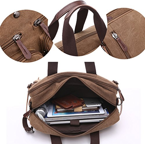 Super moderno lienzo mochila hombro bolsa, bolsa de ordenador portátil bolsa de oso bolsa de escuela trabajo Bolsa Crossbody Bolsa Para Hombres y Mujeres, mujer hombre, marrón marrón