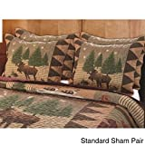 Wilderness Retreat Moose Lodge Full/Queen 3-Piece Quilt Set Beautiful Attractive Rich Earthtone Colors Durable Country Bedspread Soft Comfortable Bedding Comforter Cabin Room Feel At Home Bed Decor
