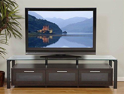Plateau Decor 71 (E)-B Wood and Glass TV Stand, Espresso -
