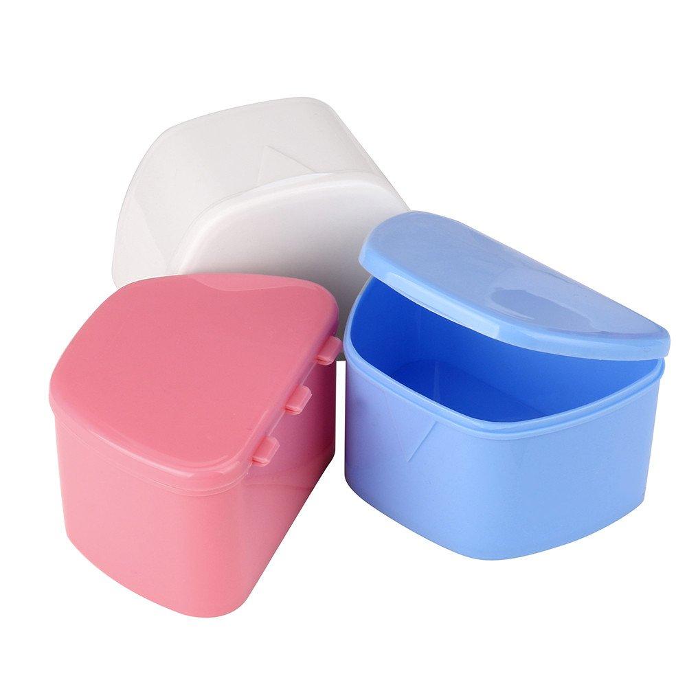 Hohaski Denture Bath Appliance False Teeth Box Storage Case Rinsing Basket Professional Dental Supplies Color Random(White, Blue & Pink) by Hohaski (Image #7)