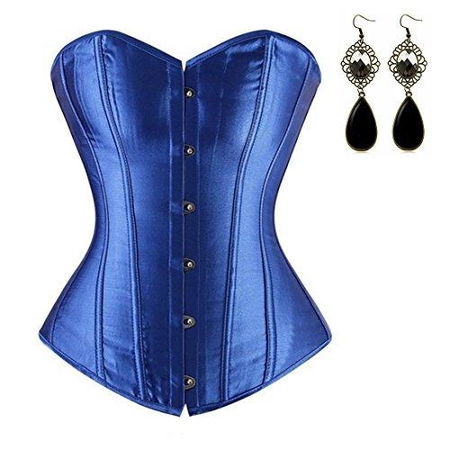 Sitengle Para Mujeres Corsés Palacio Vintage Bustiers Fajas Push-up Corpiño Cintura Cincher Nupcial Lencería Underbust Bandeau Azul