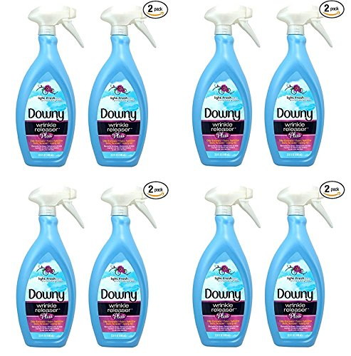 Downy Wrinkle Release Spray Plus, Static Remover, Odor Eliminator, Fabric Refresher and Ironing Aid, Light Fresh Scent, 33.8 Fluid Ounce (Pack of 2) (PACK OF 8)
