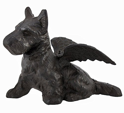 Garden Stop Door (Scottie with Wings Pup Dog Angel Sculpture Figure, Cast Iron, 7-inch, Paperweight, Door Stop, Scottish Terrier)