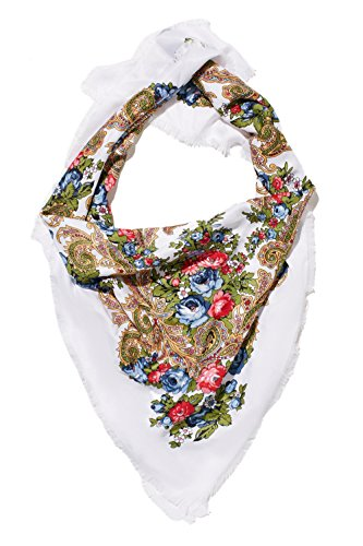 Ladies Floral Neck Scarf Ukrainian Polish Russian Style Silk Folk Shawls For Women (white)