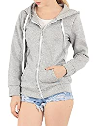 f6fc67251dc Women s Casual Hoodie Fleece Jacket Zip up Solid Long Sleeve Sweater Jacket