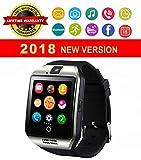 Smartwatch, Bluetooth Smart Watch, Touch Screen Smart Wrist Watch SIM SD Card Slot Support Push Message Pedometer Health Sport Tracker Watch Android Samsung iOS iPhone Kids Men Women (Silver)