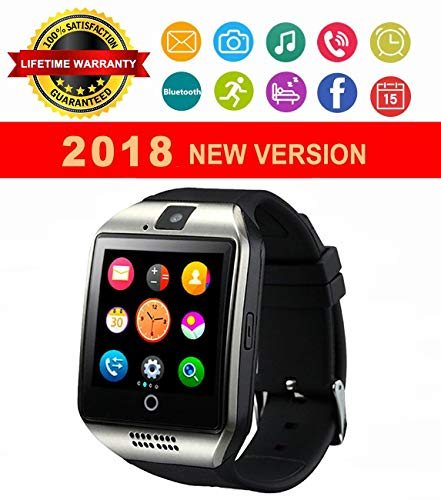 Smartwatch, Bluetooth Smart Watch, Touch Screen Smart Wrist Watch SIM SD Card Slot Support Push Message Pedometer Health Sport Tracker Watch Android Samsung iOS iPhone Kids Men Women (Silver) by Baoxin