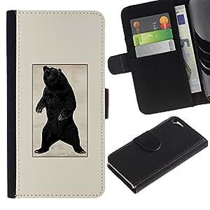 EJOY---Tirón de la caja Cartera de cuero con ranuras para tarjetas / Apple Iphone 5 / 5S / --Negro Oso Grizzly Rugido del cartel del vintage