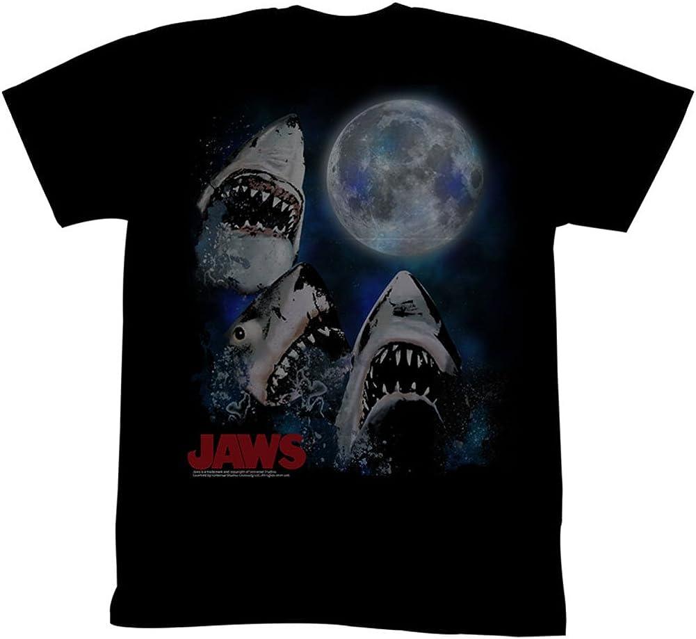 Jaws Men's Three Shark Moon Slim Fit T-Shirt XXXXX-Large Black