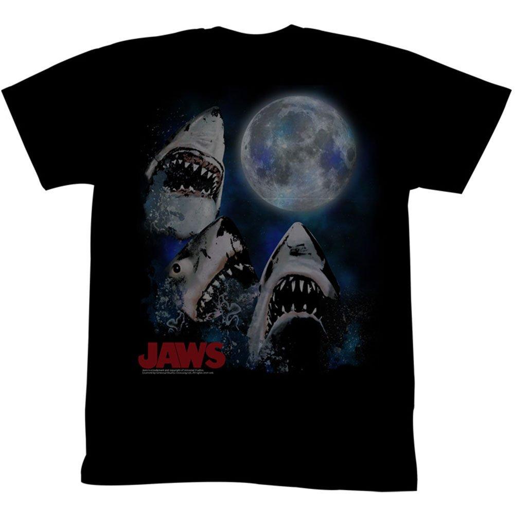 JAWS Men's Three Shark Moon T-Shirt Black