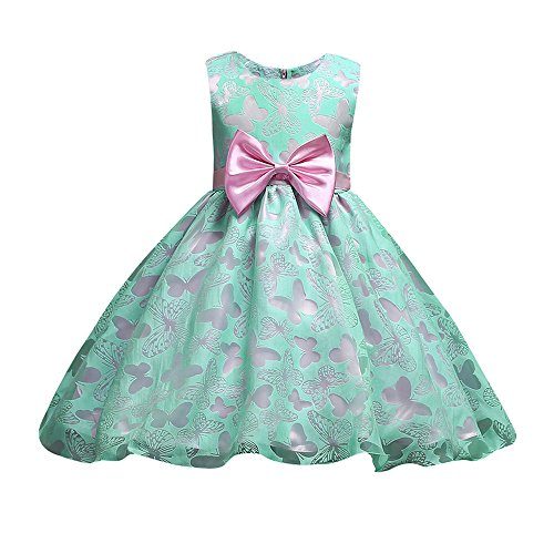 (Little Girl Dress,Fineser Princess Bridesmaid Pageant Gown Birthday Party Wedding Dress (Green, 4T))