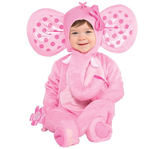 Suit Yourself Pink Elephant Costume for Babies, Size 0 Months to 6 Months, Includes a Jumpsuit, a Hood, and More