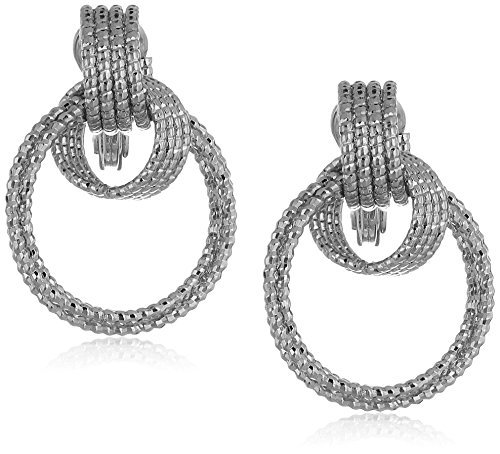 Anne Klein Women's Silver Tone And Diamond Cut Drop Hoop Clip On Earrings