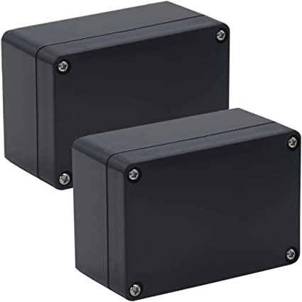 Otdorpatio 2 Pack Project Box IP65 Waterproof Junction Box ABS Plastic Black Electrical Boxes DIY Electronic Project Case Power Enclosure 2PACK 3.94x2.68x1.97 inch 100 x 68 x50 mm