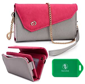HTC One XL Ladies wristlet wallet with accommodating chain for cross body use PLUS bonus Neviss Luggage Tag