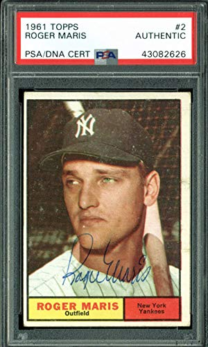 Yankees Roger Maris Authentic Signed 1961 Topps #2 Card PSA/DNA Slabbed & LOA