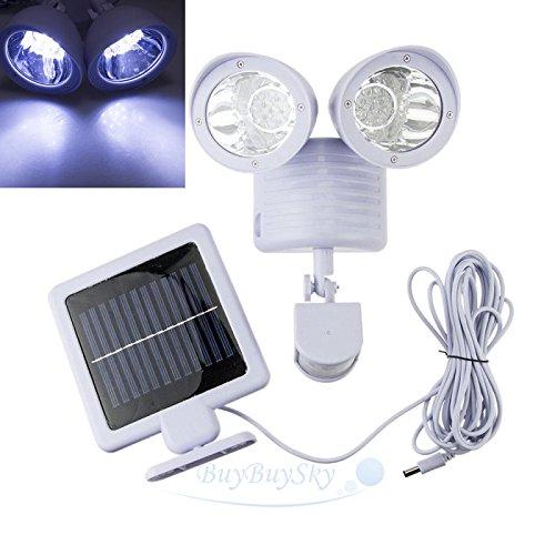 22 LED Solar Powered Motion Sensor PIR Security Light Garden Garage Outdoor Lamp (Pedestal Stainless Grill Steel)