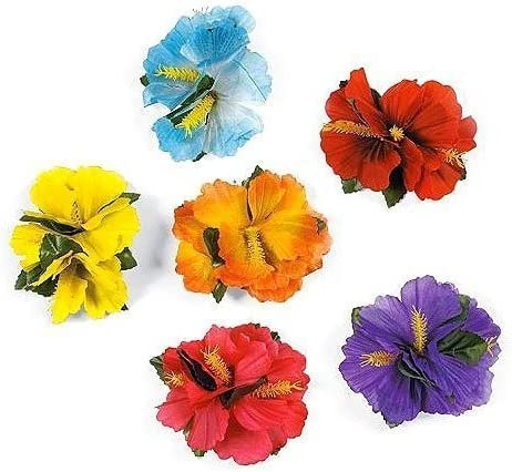 picture of Hula Girl Hibiscus Color Assorted Flower Island Theme Hair Clips