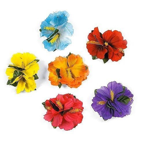 Hula Girl Hibiscus Color Assorted Flower Lei Hawaiian Island Rainforest Theme Hair Clips for Costume, Birthday Party Favors, Event Decoration Supplies (12 Pack) - Colour Theme Party Costumes