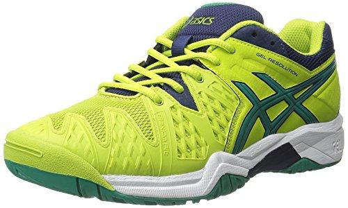 Price comparison product image ASICS GEL-Resolution 6 GS Tennis Shoe (Little Kid / Big Kid),  Lime / Pine / Indigo Blue,  1 M US Little Kid