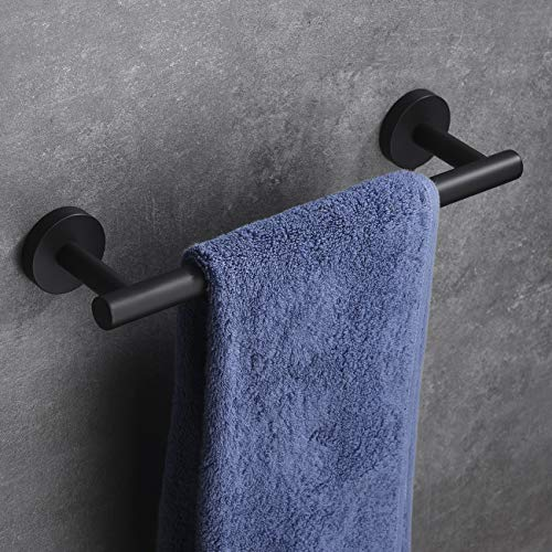 "Hoooh Matte Black 12"" Towel Bar, Stainless Steel Towel Holder for Bathroom or Kitchen Wall Mount, A100L30-BK"