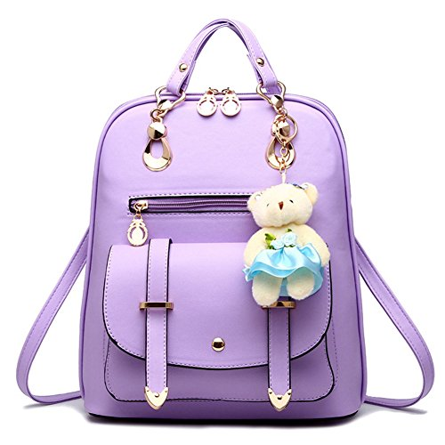 School College Backpack Outdoor Travel Bear With Decoration Christmas Pu Gift Sweet Girls Leather Purple Bag WIqgX