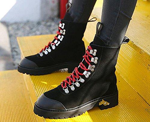 Brinny Chaude Classiques Bottines Militaire Biker doublure Flattie Combat Chaussures À Noir Martin Plat Nubuck Lacets Armée Femme Bottes ggwxdTqrS