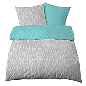 Castell satén de algodón ropa de cama 135x 200cm color azul gris