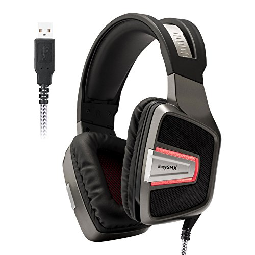 EasySMX PS4 Gaming Headset Professional Wired Over-ear Gaming Headset with Bass Vibration Control Hidden Mic USB Stereo Sound Card Plug and Play Driver-free for PC/PS4 (Grey)