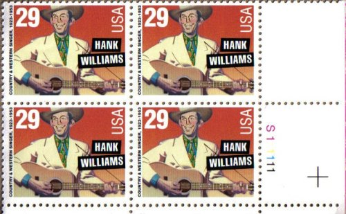Stamp Plate Block (1993 HANK WILLIAMS #2723 Plate Block of 4 x 29 cents US Postage Stamps)