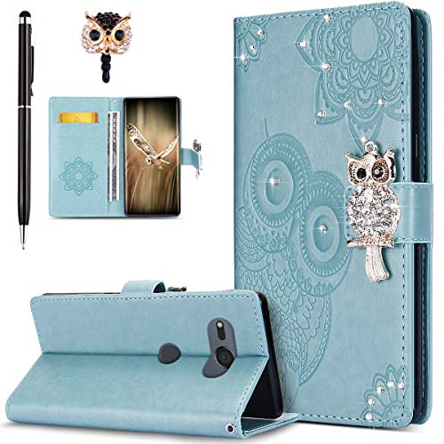 Price comparison product image Case for Sony Xperia XZ2 Compact, Bling Diamonds Glitter Embossing Mandala Owl PU Leather Fold Wallet Flip Stand Protective Case Cover + Dust Plug & Stylus for Sony Xperia XZ2 Compact Wallet Case, Green