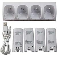 balikha Suporte de Estação de Carregamento de Base de Carregamento + 4 Baterias de 2800mAh para Controle Wii - Branco