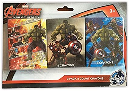 Marvel Avengers Age of Ultron 3 Pack of 8 Crayons: Amazon.es: Oficina y papelería