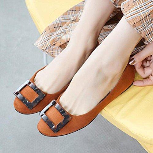 KUKI Quadratische Schnalle Wildleder Schuhe runden flachen flachen flache flache Schuhe 1