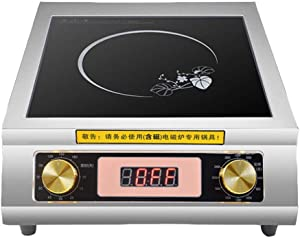 LKZAIY 3500W Induction Cooktop 220V Commercial Induction Cooker Stove Stainless Steel Electric Countertop Burner Hot Plate with Digital Display Panel & Rotary Switch