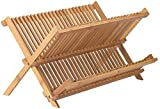 Neet Bamboo Dish Drying Rack | 2 Tier Folding Collapsible | 18.5'' X 13'' Inches | Organic Wooden Dish Drainer Wood Kitchen Utensil & Plate Dryer