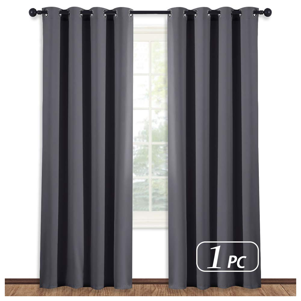 NICETOWN Blackout Blind for Living Room - (Grey Color) Window Drape Energy Efficient Curtain Panel Home Decoration, W52 x L95 Inch, 8 Grommets/Rings Top, Single Piece
