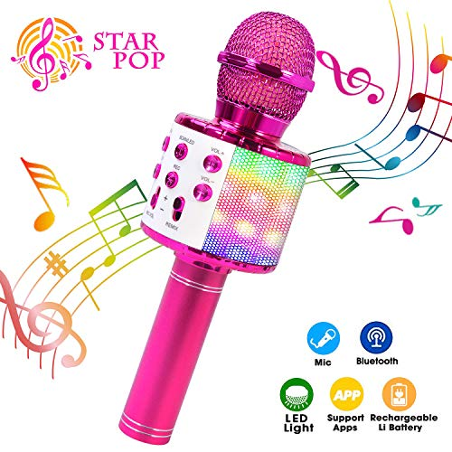 ShinePick Bluetooth Karaoke Microphone, 4 in 1 Wireless Microphone Handheld Portable Karaoke Machine, Home KTV Player, Compatible with Android & iOS Devices(Purple)
