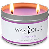 Wax and Oils Soy Wax Aromatherapy Scented Candles (Lavender) 16 Oz.